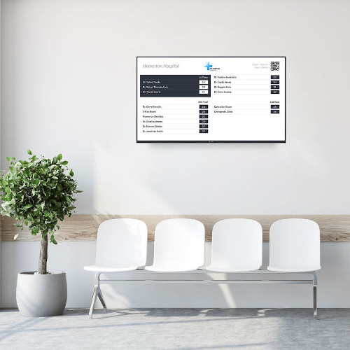 Digital information board in waiting room